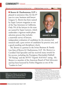 Gregory G. Brown named 2015 Super Lawyer