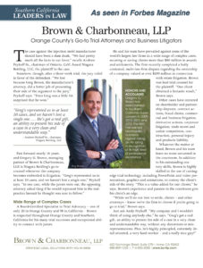 "Gregory G. Brown featured in Forbes Magazine - ""Leaders in the Law"""