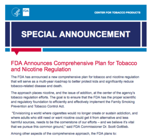 FDA's New Comprehensive Plan for Tobacco and Nicotine Regulation Extends Application Deadlines for ENDS & E-Cigarettes