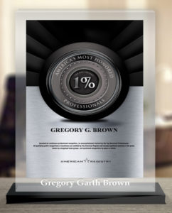 Business Trial Lawyer Gregory G. Brown Named to America's Most Honored Professionals (Top 1%)