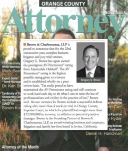 Trial Attorney Gregory G. Brown Trial Success Featured in OC Attorney Journal