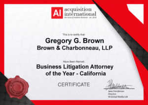 Gregory G. Brown Named Business Litigation Attorney of the Year